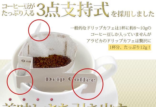 コーヒー豆がたっぷり入る3点支持式を採用しました